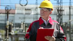 Inspector on heat electropower station Stock Footage