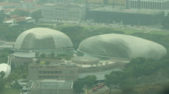 Singapore The Esplanade buildings high angle - stock footage