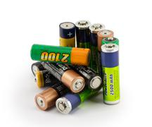 Batteries isolated on white background Stock Photos