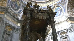 St. Peter's  basilica cathedral wood altar Bernini's baldacchino 4k - stock footage