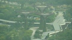 Singapore Garden by the Bay trees Conservatory high angle Stock Footage