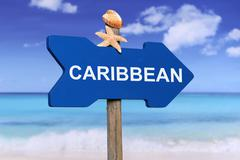 Caribbean sea with beach in summer on vacation - stock photo