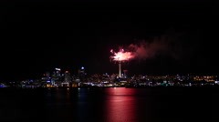 Firework from Sky Tower in Auckland - stock footage