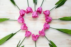 heart shape of pink tulips on wooden background - stock photo