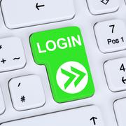 Internet concept login button submit on computer Stock Photos