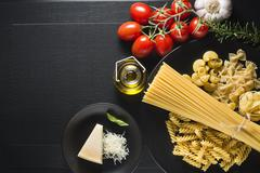 Pasta collection with fresh ingredients - stock photo