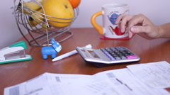 Calculating Bills On The Kitchen Table, Unsatisfactory Results Stock Footage