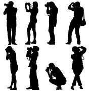 Cameraman with video camera. Silhouettes on white background. Vector illustra - stock illustration