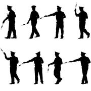 Set black silhouettes  Police officer  with a rod on white background. Vector - stock illustration