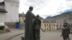 Statues in Plaza San Blas in Ecuador Stock Footage