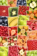 Vegan and vegetarian fruits background with apples, oranges, lemons Stock Photos