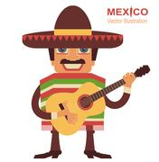 Stock Illustration of Mexican man singer with guitar