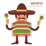 Mexican man singer with maracas - stock illustration
