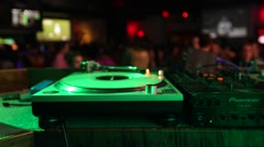 Turntables in Club with Crowd Stock Footage