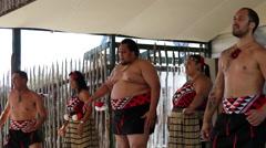Maori Haka performance in Whakarewarewa thermal valley in Rotorua New Zealand Stock Footage