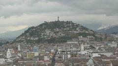 El Panecillo hill with the Virgin of Quito statue in Ecuador Stock Footage