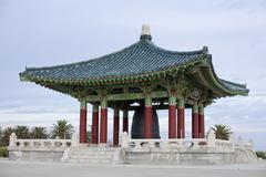 korean temple with bell - stock photo
