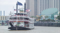 Steamboat Natchez Paddle Wheeler Arriving in French Quarter Stock Footage