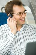 Calling in the airplane Stock Photos