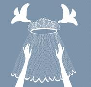 bridal veil - stock illustration