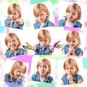 Stock Photo of Collage of different portraits of the same cute girl