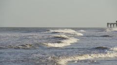 Peaceful slow motion waves on South Carolina beach - stock footage