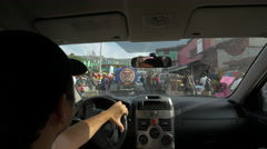 Driving on the busy street in Haiti - stock footage