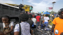 Crowd in a food market in Haiti - stock footage