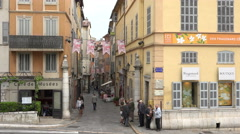 People visit Grasse old town, France Stock Footage