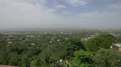 Aerial view of Haiti with trees and houses in the horizon Stock Footage