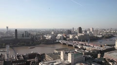 Aerial View of Tate Modern and the RiverThames in London Stock Footage