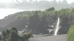 Waterfall by Pura Tanah Lot Bali 4K Stock Footage