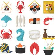 Asian seafood flat color vector icons - stock illustration