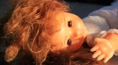 Old plastic doll Stock Footage