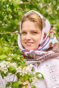 Beautiful woman in a headscarf - stock photo
