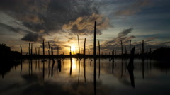Apocalyptic dramatic clouds and sunset over lake, time-lapse. Stock Footage