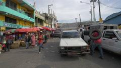 Haitian people walking on the street in Haiti - stock footage