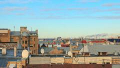 UHD 4K Rooftops with smoke from pipes and cranes on background, timelapse. Stock Footage