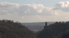 Long view of Clifton suspension bridge in Bristol. England Stock Footage