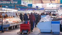 UHD 4K  Central market, fish pavilion in Riga. Latvia Stock Footage