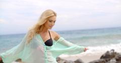 Pretty Blond Woman Wearing Light Mint Beachwear Stock Footage