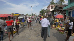 Busy food market in Haiti - stock footage