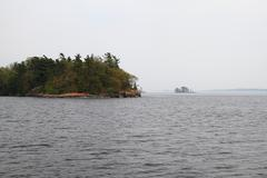 Thousand Islands in Kingston Ontario area in Foggy Day Stock Photos