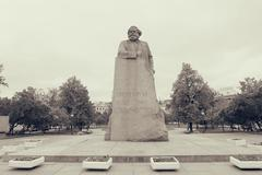 Karl Marx statue on Revolution square in Moscow - stock photo