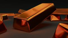 Animated falling fine bar of copper 2 1080p Stock Footage