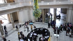 A tilt shot of the foyer of the Victoria and Albert museum in London Stock Footage
