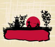 old paper with silhouette Samurai - stock illustration