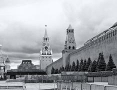 St. Basil's Cathedral, Lenin's Mausoleum, Spasskaya Tower - stock photo