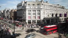 Busy Day at London's Oxford Circus Stock Footage