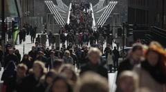 Crowded Street Scene Pedestrians Millenium Bridge Stock Footage